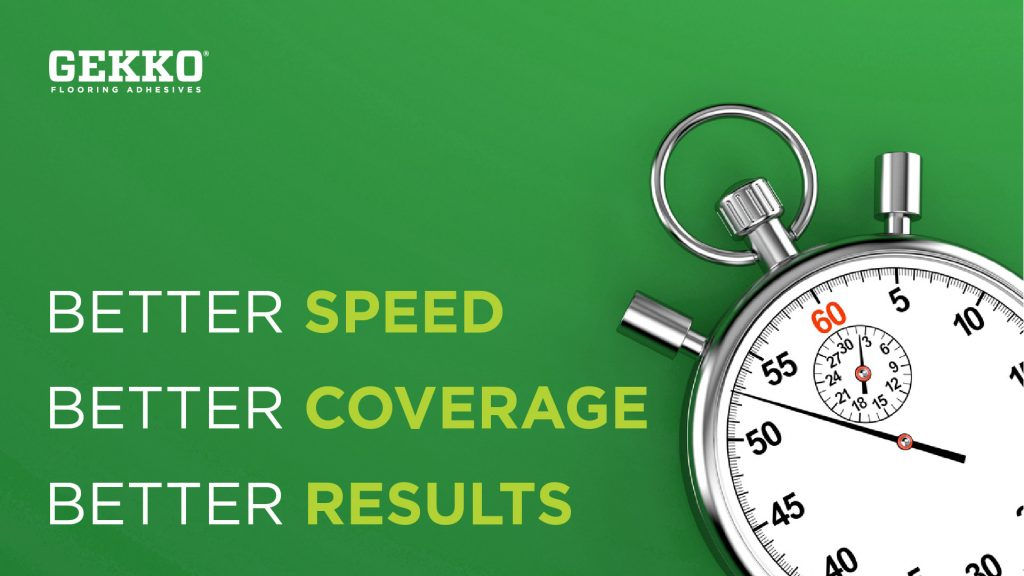 """A Gekko branded graphic featuring a timer. Copy states """"better speed, better coverage, better results."""""""